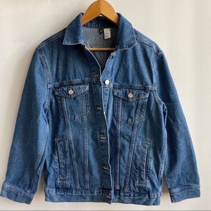 H&M Oversized Medium Wash Boyfriend Denim Jacket